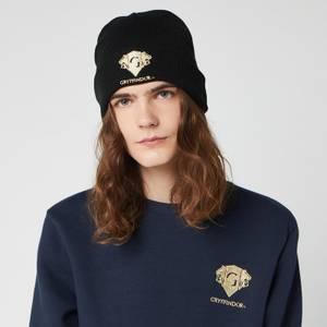 Harry Potter Gryffindor Embroidered Beanie Hat - Black