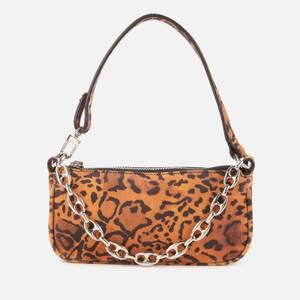 BY FAR Women's Mini Rachel Suede Shoulder Bag - Leopard Print