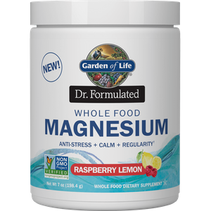 Magnesio in polvere da alimenti naturali - Limone e lampone - 198.4g