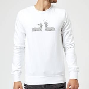 Glitter Stags Sweatshirt - White