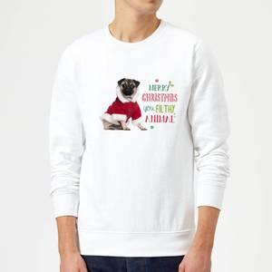 Christmas Pug Sweatshirt - White