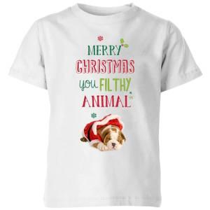 Filthy animal Bulldog Kids' T-Shirt - White