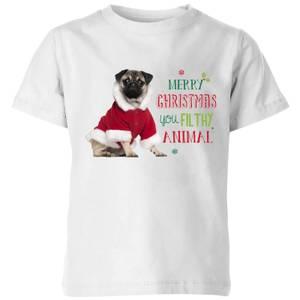 Christmas Pug Kids' T-Shirt - White