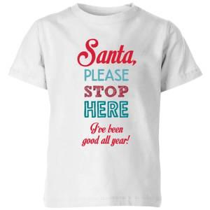 Stop here santa Kids' T-Shirt - White