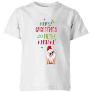 Merry Christmas bulldog Kids' T-Shirt - White