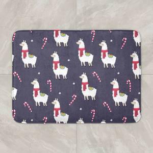 Christmas Llama Candy Cane Bath Mat