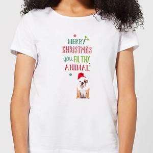 Merry Christmas bulldog Women's T-Shirt - White