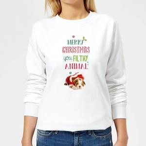 Filthy animal Bulldog Women's Sweatshirt - White