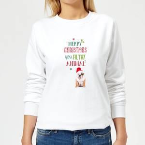 Merry Christmas bulldog Women's Sweatshirt - White