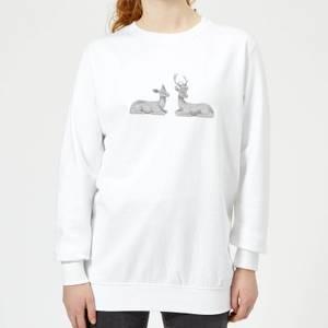 Glitter Stags Women's Sweatshirt - White