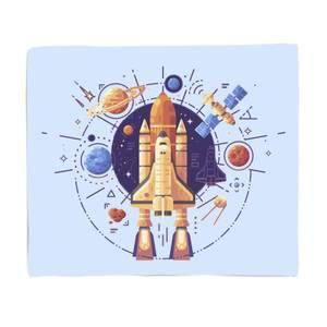 Rocket Ship And Planets Fleece Blanket