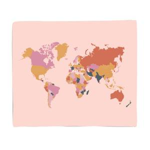 Colourful World Map Fleece Blanket