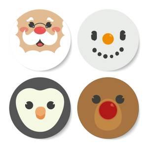 Christmas Character Round Coaster Set