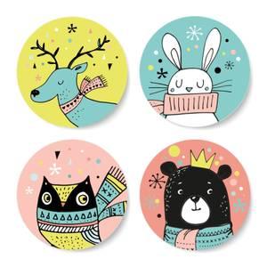 Cutesy Colourful Woodland Christmas Creatures Round Coaster Set