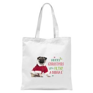Christmas Pug Tote Bag - White