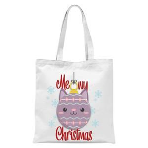Meowy Christmas Tote Bag - White