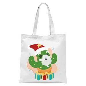 Christmas Cactus Tote Bag - White