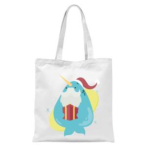 Christmas Narwhal Tote Bag - White