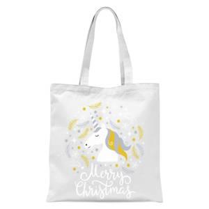 Christmas Unicorn Tote Bag - White