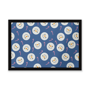 Snowman Candy Cane Christmas Entrance Mat