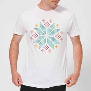 Cross Stitch Festive Snowflake Men's T-Shirt - White