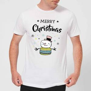 Merry Christmas Snowman Men's T-Shirt - White