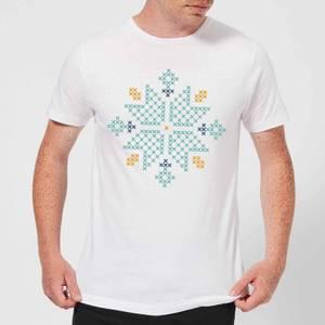Cross Stitch Snow Flake Men's T-Shirt - White