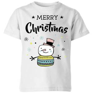 Merry Christmas Snowman Kids' T-Shirt - White