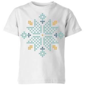 Cross Stitch Snow Flake Kids' T-Shirt - White