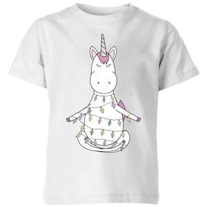 Unicorn Wrapped In Christmas Lights Kids' T-Shirt - White