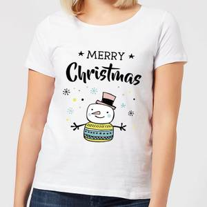 Merry Christmas Snowman Women's T-Shirt - White