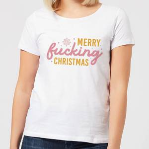 Cross Stitch Merry Fucking Christmas Women's T-Shirt - White