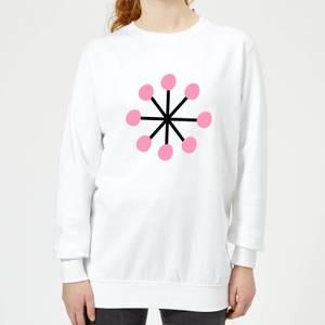 Pink Snowflake Women's Sweatshirt - White