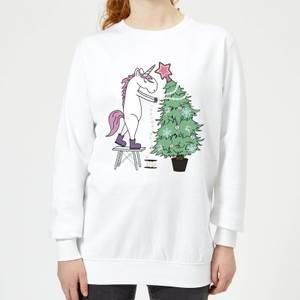 Unicorn Decorating The Christmas Tree Women's Sweatshirt - White