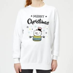 Merry Christmas Snowman Women's Sweatshirt - White