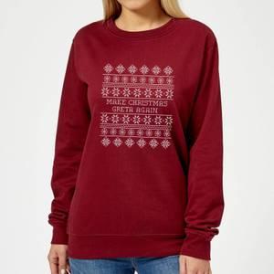 Make Christmas Greta Again Women's Sweatshirt - Burgundy