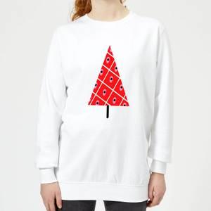 Spotty Christmas Tree Women's Sweatshirt - White