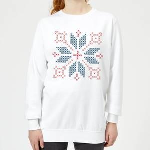Cross Stitch Festive Shape Women's Sweatshirt - White