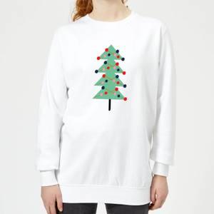 Christmas Tree With Lights Women's Sweatshirt - White