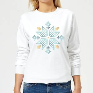 Cross Stitch Snow Flake Women's Sweatshirt - White