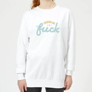 Cross Stitch Festive As Fuck Women's Sweatshirt - White