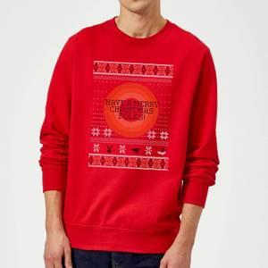 Looney Tunes Knit Christmas Sweatshirt - Red