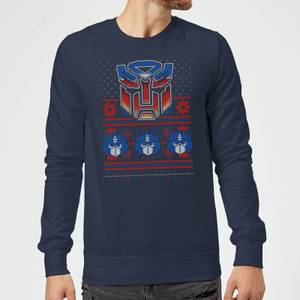 Autobots Classic Ugly Knit Christmas Sweater - Navy