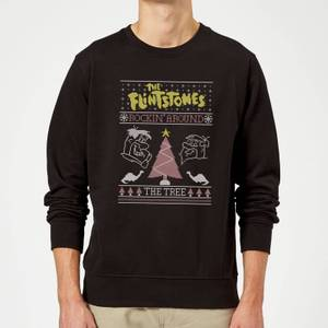 Flintstones Rockin Around The Tree Christmas Sweatshirt - Black