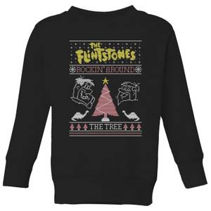 Flintstones Rockin Around The Tree Kids' Christmas Sweatshirt - Black