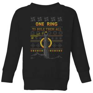 The Lord of the Rings One Ring Kids' Christmas Sweatshirt in Black