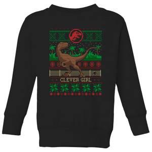 Jurassic Park Clever Girl Kids' Christmas Sweater - Black