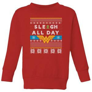Wonder Woman 'Sleigh All Day Kids' Christmas Sweatshirt - Red