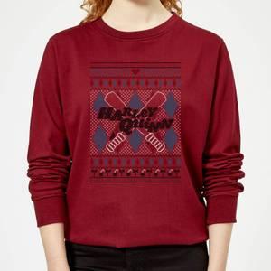 Harley Quinn Women's Christmas Sweater - Burgundy