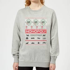 Monopoly Women's Christmas Sweatshirt - Grey